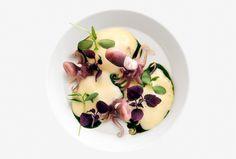 Flavio Costa | foto Bob Noto | Moscardini fragolini al vapore, spuma di patate affumicate ed essenza di prezzemolo
