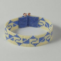 Items similar to Incan Indian Style Motif Bead Loom Bracelet, Blue White, Native American Style, Boho Jewelry, Hippie Chic, Beadwoven Cuff, American, Copper on Etsy