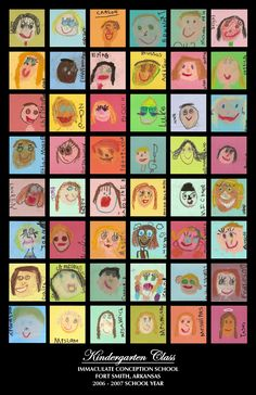 School Auction Project: kids did pastel self portraits on 4x4 pieces of card stock, wrote their names on the side.  I had them mounted them on black mat board and framed in a pre-made 50% frame at Hobby Lobby.  Also made a poster of it and sold 11x17's of it for $10.  Great money maker!