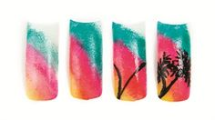 Rebecca Anderson uses a sponge to created the color fade background of this island-inspired design. Summer Vacation Nails, Vacation Nail Art, Holiday Nail Art, Winter Nail Art, Nail Art Hacks, Nail Art Diy, Evil Eye Nails, Super Cute Nails, Pretty Nails