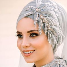 Image may contain: 1 person, closeup Hijab Turban Style, Mode Turban, Hijab Dress Party, Muslim Wedding Dresses, Bridal Hijab Styles, Hijab Style Tutorial, Hijab Bride, Beautiful Hijab, Bridal Makeup