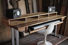 The SD88 is our full size studio desk model made to fit most 88 key workstations on the sturdy sliding shelf and up to 3 screens on the desktop shelf. All of our desks are designed with the profession