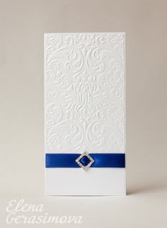 Wedding invitation - White Ivory blue invitations - embossed invitation card - handmade