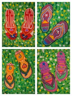 XANCLES SOBRE L'HERBA (Plastiquem) Class Art Projects, Summer Art Projects, Summer Crafts, Tapas, May Arts, Expressive Art, Still Life Art, Shoe Art, Elementary Art