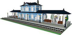 legotrein forum // legotrain forum :: Onderwerp bekijken - trein stations // train stations Gare Lego, Lego Train Station, Modele Lego, Minecraft, Lego Display, Brick Construction, Lego Trains, Lego Design, Lego Moc