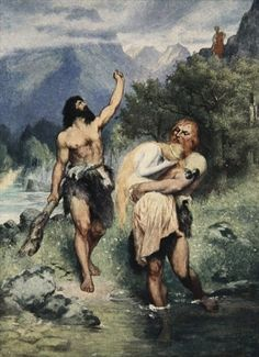The giants bore Freia away (1905), lithograph by Ferdinand Leeke (1859-1937), from Das Rheingold (1854), by Richard Wagner (1813-1883).