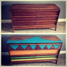 Painted dresser makeover young boys room surf tribal