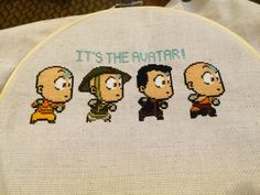Avatar: The Last Airbender Aang Cross stitch all done! Pattern is from carand88 on deviantart