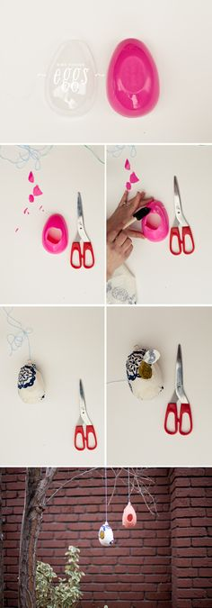 How to make a bird feeder from left over plastic Easter eggs!