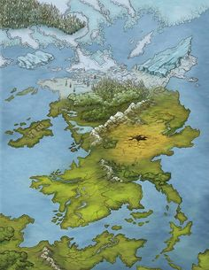 Sout of Icotor Eric Quigley Personal project map. Fantasy Map Making, Fantasy World Map, Fantasy City, Fantasy Places, Fantasy Landscape, Landscape Art, Pathfinder Maps, Imaginary Maps, Rpg Map