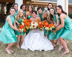 Turquoise & Orange Spring Wedding| Photo by:  cariadphotography.com