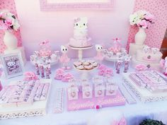 Pretty dessert table at a Hello Kitty birthday party! See more party ideas at CatchMyParty.com!