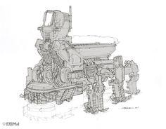 concept robots: Concept robot art by John Park Concept Art World, Robot Concept Art, Concept Cars, Brainstorm, Robot Sketch, Robots Drawing, Red Engine, Construction Drawings, Mechanical Design