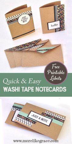 DIY Washi Tape Notecards: Free Printable Embellishments | More Like Grace | Craft tutorial to make washi tape notecards. Easy craft project and a great gift idea too!