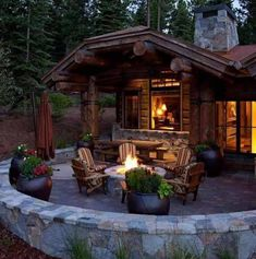Rustic Patio with exterior stone floors, Fire pit Small Cottages, Cabins And Cottages, Mountain Dream Homes, Rustic Patio, Cabin In The Woods, Log Cabin Homes, Log Cabins, Timber House, Outdoor Living