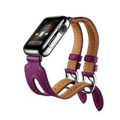 96e141f0a0c iPM Leather Double Buckle Cuff Replacement Band for Apple Watch (Black -  38mm) -