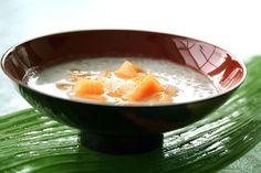 Chilled Tapioca Pearls with Sweet Coconut & Melon ~ https://steamykitchen.com