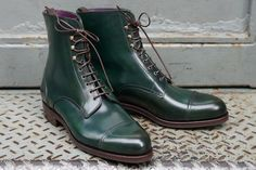 Handmade Green Boots For Men, Cap Toe Ankle Dress Formal Casual Leather Boot - Boots