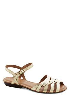 Come Out and Plait Sandal in Gold | Mod Retro Vintage Sandals | ModCloth.com