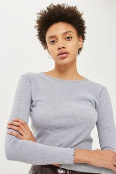Long Sleeve Lettuce Hem Crop Top | Topshop