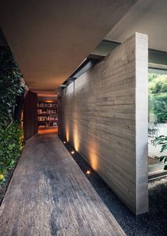 Concrete / wood / green wall.