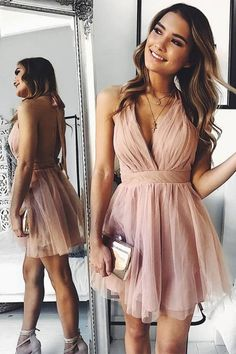 Buy Cute V Neck Above Knee Pink Ruffles Tulle Short Prom Dresses, Homecoming Dresses online. Rock one of the season's hottest looks in a burgundy homecoming dress or choose a timeless classic little black dress. Hoco Dresses, Sexy Dresses, Wedding Dresses, Summer Dresses, Casual Dresses, Cute Homecoming Dresses, Bridal Gowns, Backless Dresses, Evening Dresses