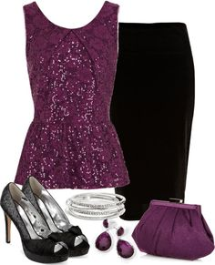 """Purple Sequin Top"" by denise-schmeltzer on Polyvore"