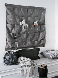 Grey Wally: Organise your life with this wonderful wall storage unit. 30 pockets, each embroided with the alphabet. Available also in white with grey embroidery. Perfect for the kids room - somewhere to store toys, books, clothes etc. Hanging Storage, Wall Storage, Shoe Storage, Bench Storage, Hanging Organizer, Entryway Storage, Entryway Ideas, Hanging Canvas, Wall Organization
