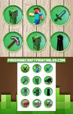 Free Minecraft Printables: Free Printable Minecraft Cupcake Toppers   Minecraft Stickers