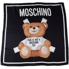 Moschino Teddy Bear Silk Foulard ($160) ❤ liked on Polyvore featuring accessories, scarves, nero, silk scarves, moschino, moschino scarves, pure silk scarves and silk shawl