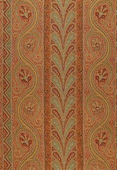 Chatelaine Paisley in Tuscan by Schumacher - This classic Schumacher paisley stripe design has been updated with a new coloration of russet, teal and olive.