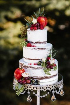 Gold and marsala naked wedding cake adorned with fresh fruits & greenery. Photographs by Grace Marsala and Gold Wedding Inspiration / silver chandelier cake stand by Opulent Treasures Fruit Wedding Cake, Fall Wedding Cakes, Marsala And Gold Wedding, Chandelier Cake Stand, Silver Chandelier, Snow White Wedding, Naked Cakes, Wedding Cake Prices, Traditional Wedding Cake
