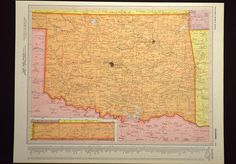 Colorful Yellow Vintage Oklahoma Map of Oklahoma Wall Art Map