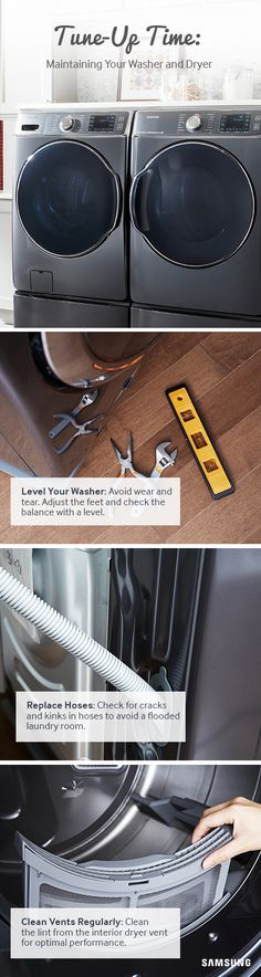 Keep your washer and dryer running like new with these do-it-yourself maintenance tips. Laundry Hacks, Tiny Houses, Washer And Dryer, Clean House, Organization Ideas, Cleaning Hacks, Laundry Room, Serenity, Fun Facts