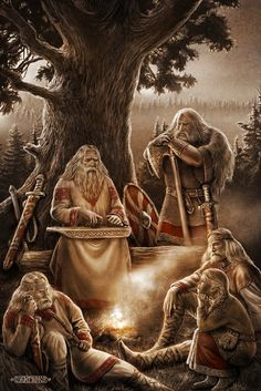 Slavic warriors hearing elder sing tales of Slavic Gods and their battles.Slavic mythology by Igor Ozhiganov | Slavorum