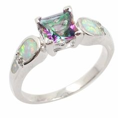 (11.42$)  Buy here  - Fashion 925 Sterling Silver Shining CZ Diamond Simulated Opal Wedding Ring Women Girl Engagement Jewelry Accessory