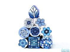 9 Polymer clay canes - The Delft Collection, raw and unbaked polymer clay millefiori Fimo cane by Ronit Golan