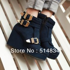 Promotion 2013 winter wedges high heel ankle boots for women,exfoliate buckle women's martin boot,woman shoes,free shipping $39.90