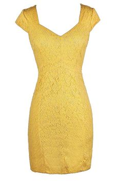 Niki Capsleeve Lace Pencil Dress in Bright Yellow