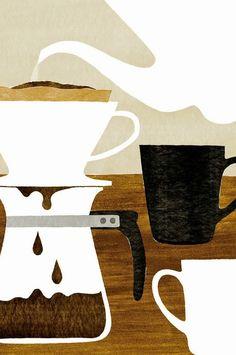 start the morning with coffee illustration by Kazuaki Yamauchi