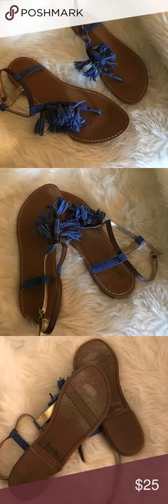LOFT blue tassel sandals Size 8. LOFT blue tassel sandals LOFT Shoes Sandals