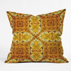 Chobopop Golden Panther Pattern Outdoor Throw Pillow | DENY Designs Home Accessories