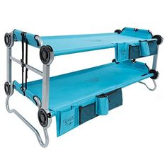 Disc-O-Bed Kid-O-Bunk Portable Bunk Bed with Organizers. A scaled-down version of the world's best on-the-go sleeping solution! Fun meets function for kids on the go! From slumber