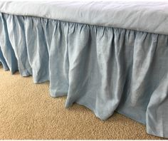 Blue Bed Skirt in natural linen | Handcrafted by Superior Custom Linens