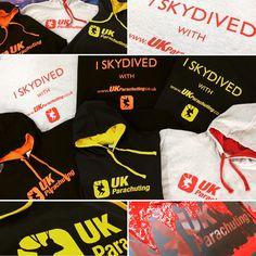 Some great UK Parachuting varsity hoodies, matching the print colour to hoods! #ukparachuting #skydive #screenprinting #varsity #hoodie