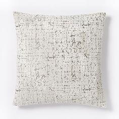 Jacquard Velvet Allover Textured Pillow Cover - Ivory #westelm
