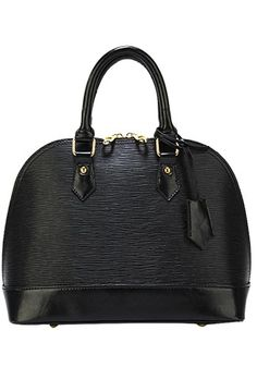 Emma Top Handle Leather Bag Black