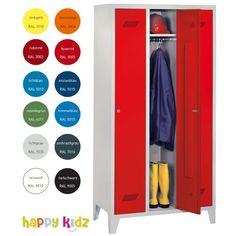 Garderobenschrank mit Füßen; 3tlg., Zylinderschloss Farbe: resedagruen