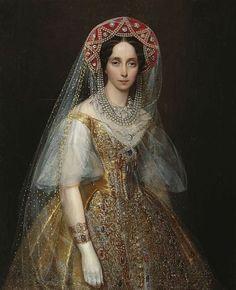 Ivan Makarov, Tsarina Maria Alexandranova in Russian dress, 1850s