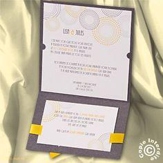 Faire-part mariage pochette gris et jaune - MM13-034 - Belarto 723114 | Faire-part.fr